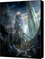 Science Fiction Mixed Media Canvas Prints - Industrialize Canvas Print by Philip Straub