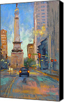 Donna Shortt Painting Canvas Prints - Indy Monument at Twilight Canvas Print by Donna Shortt