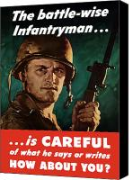 Talk Canvas Prints - Infantryman Is Careful Of What He Says Canvas Print by War Is Hell Store