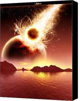 Space Art Drawings Canvas Prints - Inferno Canvas Print by Andreas  Leonidou
