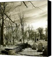 Creepy Canvas Prints - Infrared Cemetery Canvas Print by Gothicolors With Crows