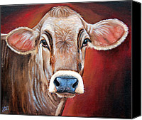 Cow Canvas Prints - Ingrid Canvas Print by Laura Carey
