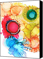 Alcohol Ink Canvas Prints - Ink Blossoms Canvas Print by Christine Crawford