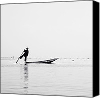 Fisher Canvas Prints - Inle Fisher Canvas Print by Nina Papiorek