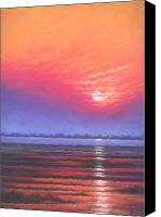 Wet Pastels Canvas Prints - Inlet Sunset Canvas Print by Deb Spinella
