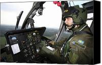 Aircraft Photo Canvas Prints - Inside The Mbb Bo 105 Helicopter Canvas Print by Daniel Karlsson