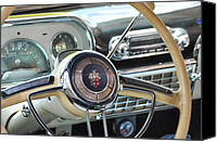 Antique Automobiles Canvas Prints - Inside The Packard Canvas Print by Jan Amiss Photography
