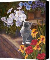 Gray Canvas Prints - Inspecting the Blooms Canvas Print by Evie Cook