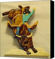 Cow Sculpture Canvas Prints - Intarsia Bull-Rider Canvas Print by Russell Ellingsworth