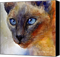 Austin Pet Artist Canvas Prints - Intense Siamese Cat painting print 2 Canvas Print by Svetlana Novikova