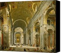 Basilica Canvas Prints - Interior of St. Peters - Rome Canvas Print by Giovanni Paolo Panini