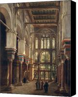 Orientalist Canvas Prints - Interior of the Mosque of El Mooristan in Cairo Canvas Print by Adrien Dauzats