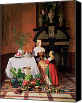 Sat Canvas Prints - Interior with figures and fruit Canvas Print by David Emil Joseph de Noter