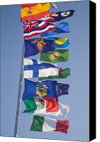 Flagpole Canvas Prints - International Flags On A Flagpole Canvas Print by Sean White
