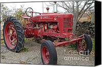 Red Tractors Canvas Prints - International Harvester McCormick Farmall Farm Tractor . 7D10322 Canvas Print by Wingsdomain Art and Photography