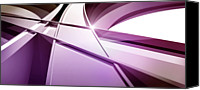 Creativity Canvas Prints - Intersecting Three-dimensional Lines In Purple Canvas Print by Ralf Hiemisch