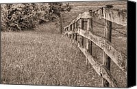 Barbed Wire Fences Photo Canvas Prints - Into the Distance BW Canvas Print by JC Findley