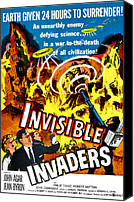1950s Poster Art Canvas Prints - Invisible Invaders, Bottom From Left Canvas Print by Everett