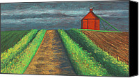 Farming Pastels Canvas Prints - Iowa Country Road Canvas Print by Garry McMichael