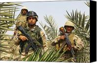 Foot Patrol Canvas Prints - Iraqi Soldiers Conduct A Foot Patrol Canvas Print by Stocktrek Images