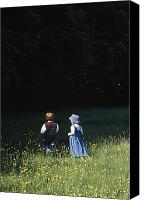 Walked Canvas Prints - Ireland Children In A Field Canvas Print by The Irish Image Collection