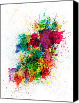Map Art Digital Art Canvas Prints - Ireland Map Paint Splashes Canvas Print by Michael Tompsett