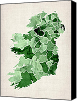 Map Art Digital Art Canvas Prints - Ireland Watercolor Map Canvas Print by Michael Tompsett