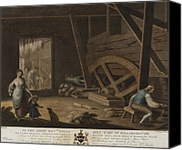 Braking Canvas Prints - Irish Linen Manufacture, 1782. A Scutch Canvas Print by Everett