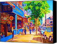 Montreal Restaurants Canvas Prints - Irish Pub on Crescent Street Canvas Print by Carole Spandau