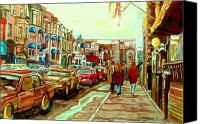 Montreal Street Life Canvas Prints - Irish Pubs And Bistros Downtown Montreal Canvas Print by Carole Spandau