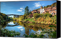 Riverside Canvas Prints - Iron Bridge 1779 Canvas Print by Adrian Evans