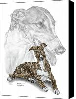 Hound Drawings Canvas Prints - Irresistible - Greyhound Dog Print color tinted Canvas Print by Kelli Swan