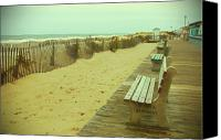 Park Benches Photo Canvas Prints - Is This A Beach Day - Jersey Shore Canvas Print by Angie McKenzie
