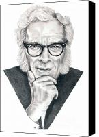 Famous Drawings Canvas Prints - Isaac Asimov Canvas Print by Murphy Elliott