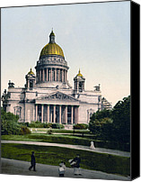 Isaac Canvas Prints - Isaac Cathedral from Alexanders Garden in St. Petersburg Russia Canvas Print by International  Images