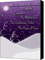 Greeting Card Canvas Prints - Isaiah Chapter 9 Verse 6 Christmas Card Canvas Print by Lisa Knechtel