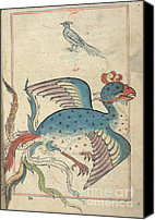 Mythological Canvas Prints - Islamic Mythical Bird, Simurgh, 17th Canvas Print by Science Source
