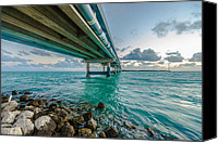 Florida Bridge Photo Canvas Prints - Islamorada Crossing Canvas Print by Dan Vidal
