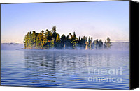 Tranquil Canvas Prints - Island in lake with morning fog Canvas Print by Elena Elisseeva