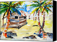 Carlin Blahnik Painting Canvas Prints - Island Life Children Playing Canvas Print by Carlin Blahnik