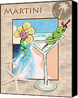 Dry Pastels Canvas Prints - Island Martini Canvas Print by William Depaula
