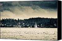 Black And White Yacht Canvas Prints - ISLAND SAILS Vancouver Island sailing under stormy skies Canvas Print by Andy Smy