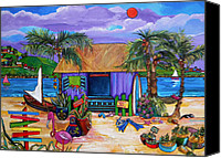 Tropical Beach Painting Canvas Prints - Island Time Canvas Print by Patti Schermerhorn