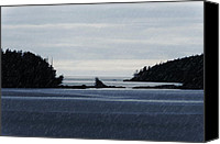 Ocean Pyrography Canvas Prints - Islands in the Rain--BC North Coast Canvas Print by Evan Spellman