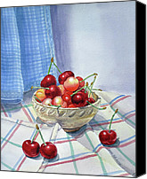 Berry Canvas Prints - It Is Raining Cherries Canvas Print by Irina Sztukowski