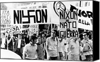 Anti-war Canvas Prints - Italian Anti-nixon Demonstrators March Canvas Print by Everett