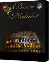Rome Mixed Media Canvas Prints - Italian Christmas card Rome Canvas Print by Eric Kempson