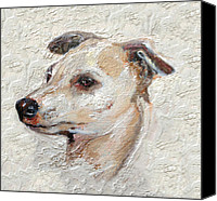 Dogs Canvas Prints - Italian Greyhound Canvas Print by Enzie Shahmiri