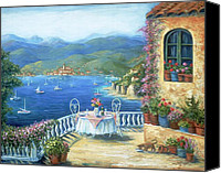 Flower Pots Canvas Prints - Italian Lunch On The Terrace Canvas Print by Marilyn Dunlap