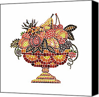 Great Painting Canvas Prints - Italian Mosaic Vase With Fruits Canvas Print by Irina Sztukowski